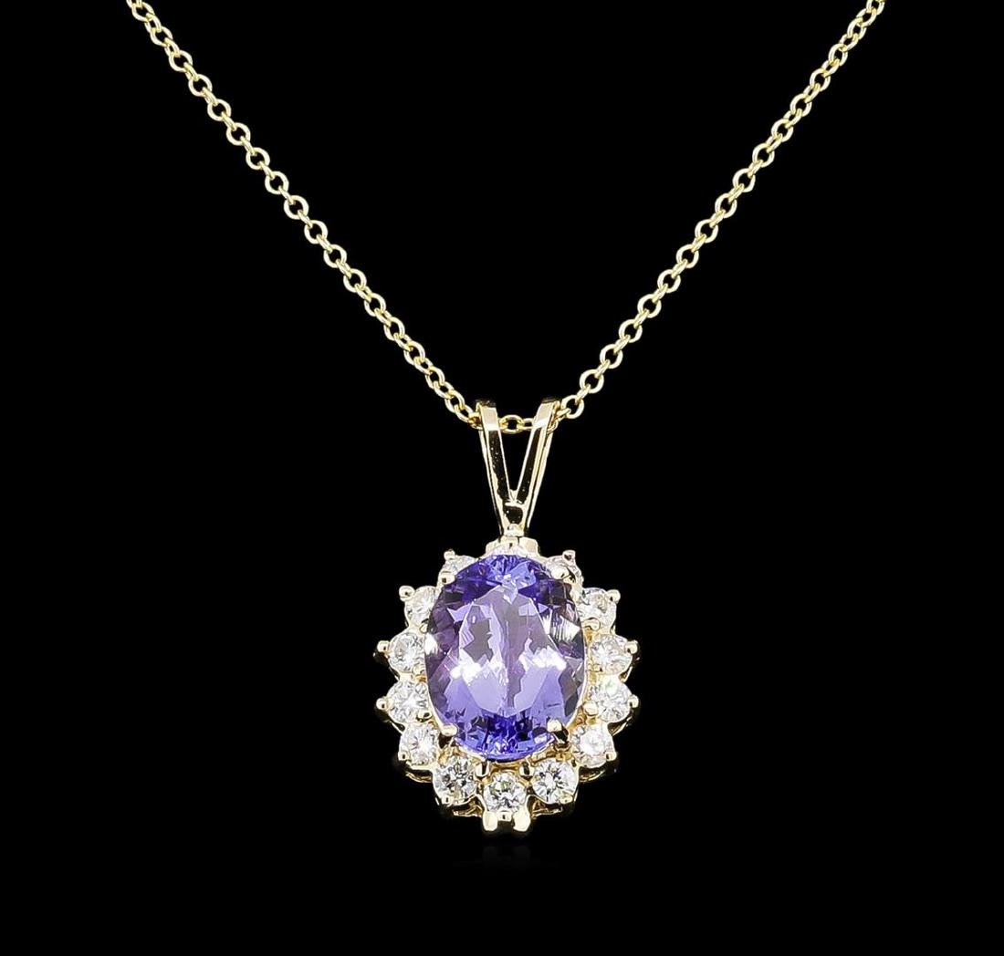 3.88 ctw Tanzanite and Diamond Pendant With Chain -