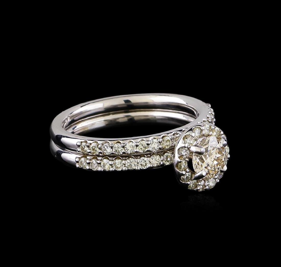 1.17 ctw Diamond Wedding Ring Set - 14KT White Gold