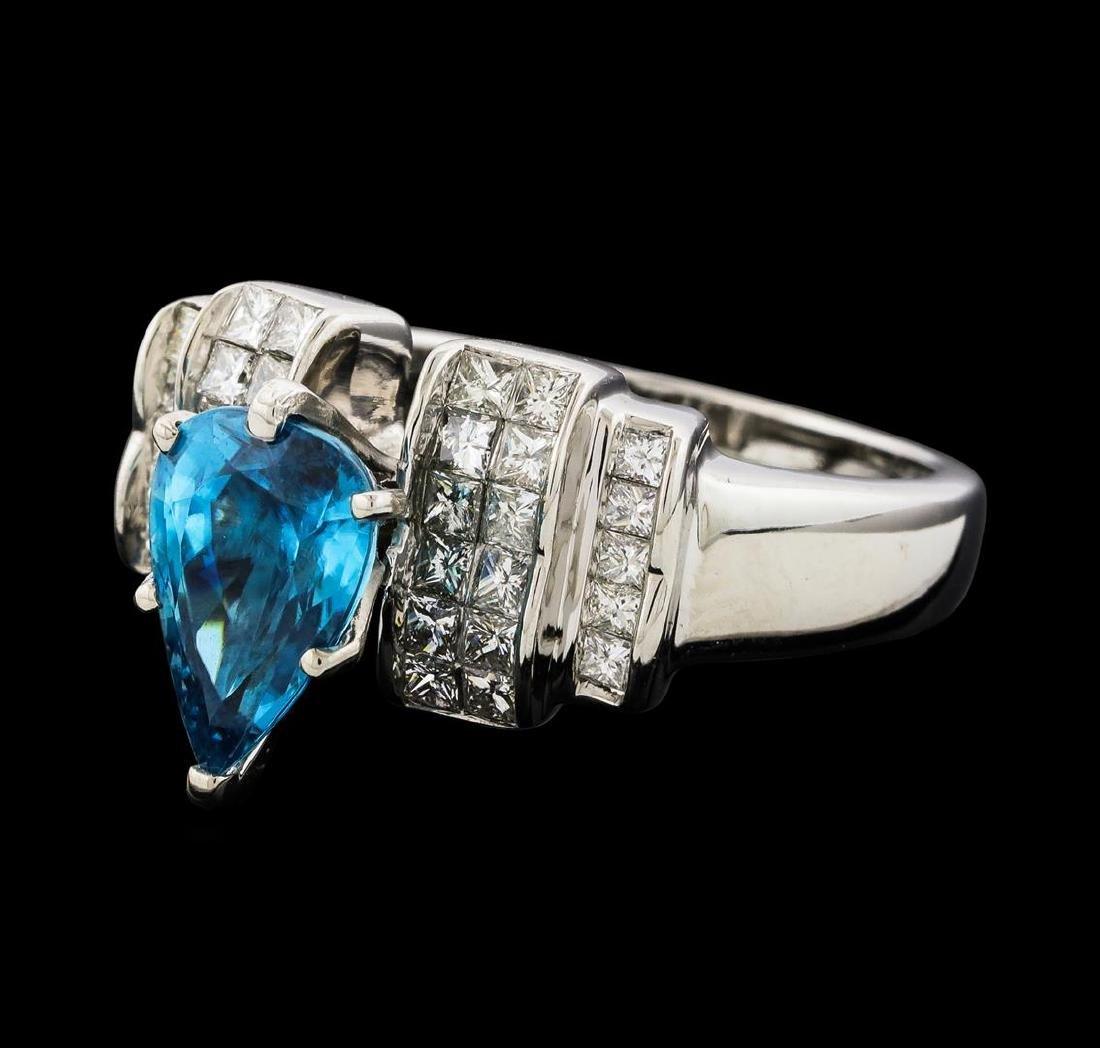 3.27 ctw Blue Zircon and Diamond Ring - 14KT White Gold