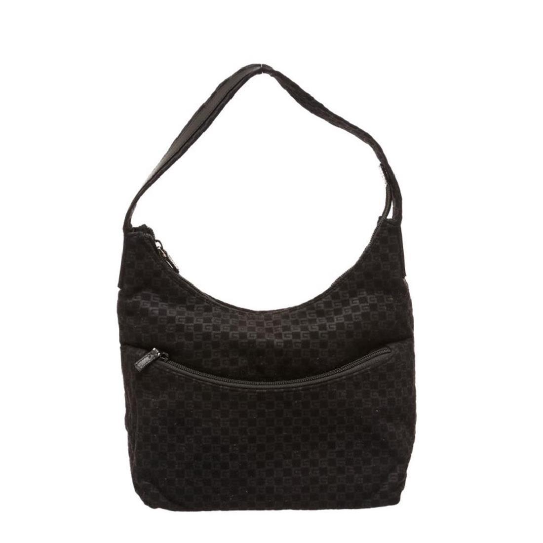 Gucci Black Felt Fabric G Logo Shoulder Bag