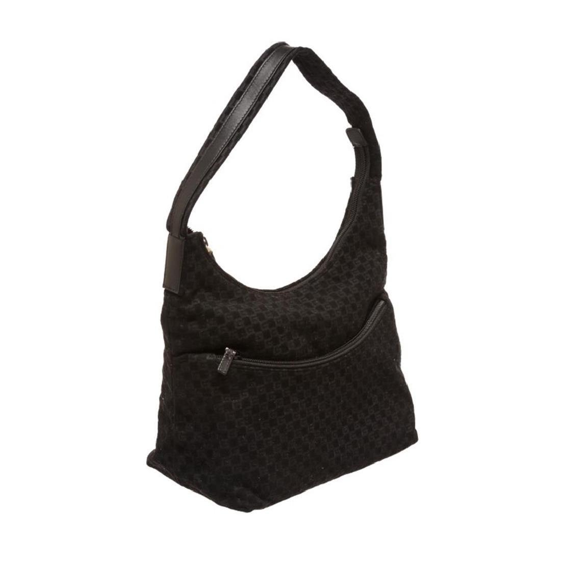 Gucci Black Felt Fabric G Logo Shoulder Bag - 2