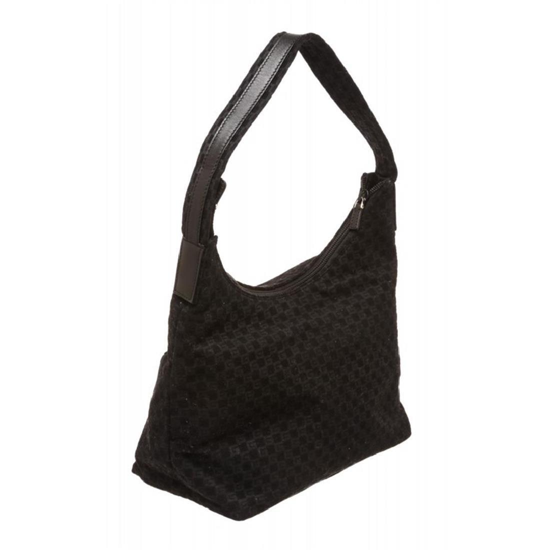 Gucci Black Felt Fabric G Logo Shoulder Bag - 3