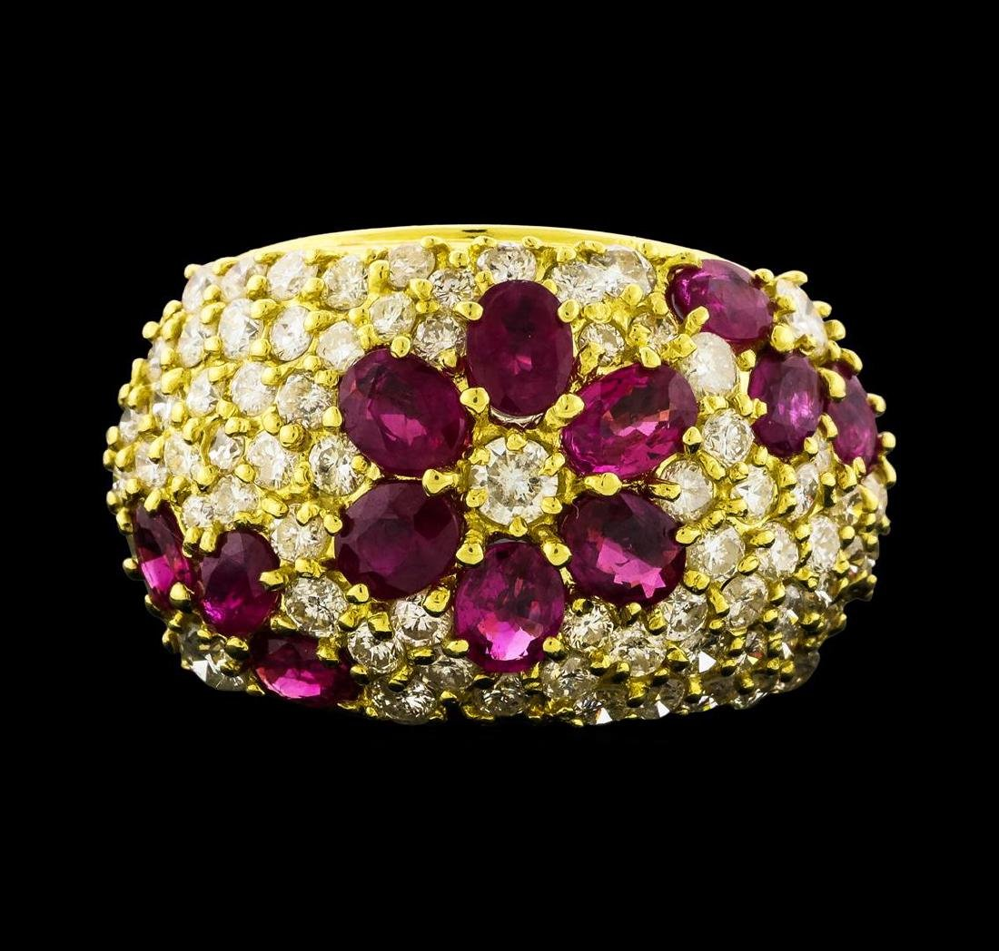 Ruby and Diamond Ring - 18KT Yellow Gold - 2