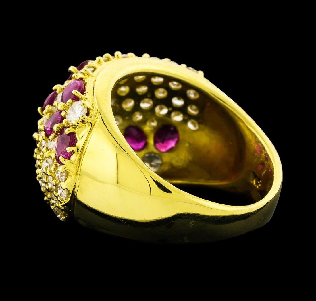 Ruby and Diamond Ring - 18KT Yellow Gold - 3