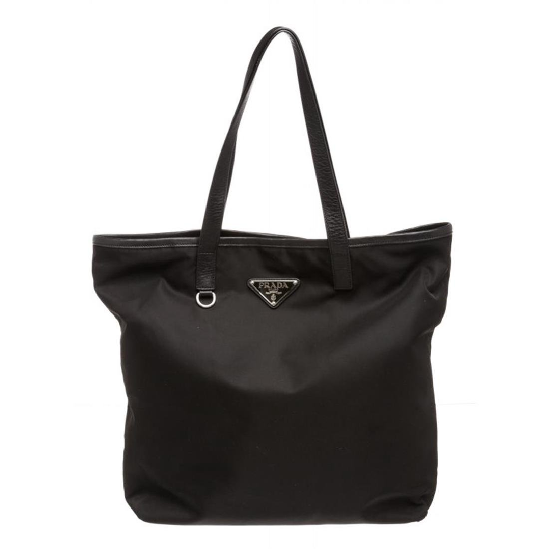 Prada Black Nylon Leather Long Tote Shoulder Bag