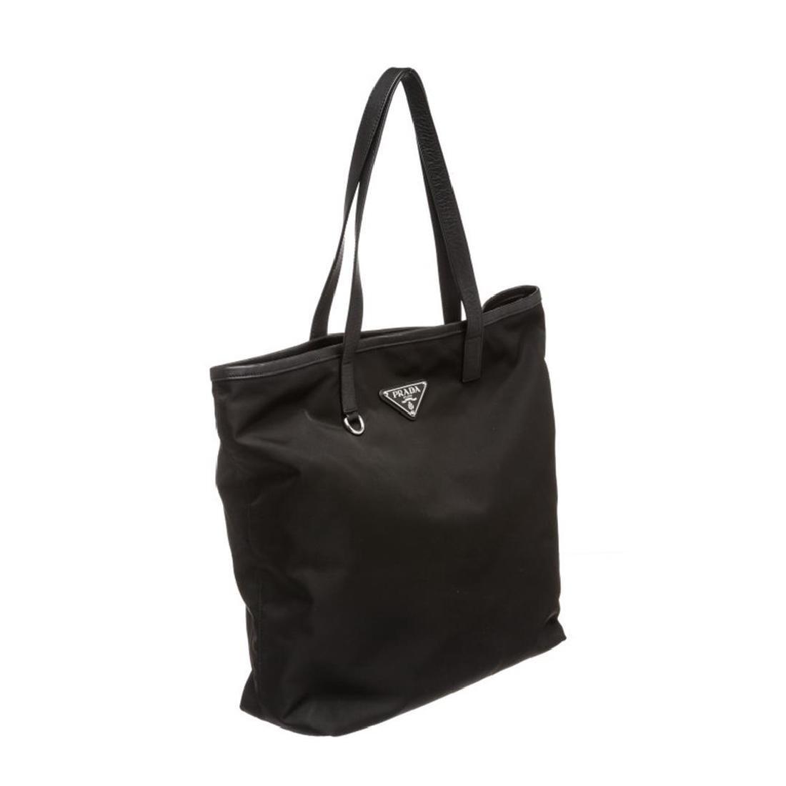 Prada Black Nylon Leather Long Tote Shoulder Bag - 2