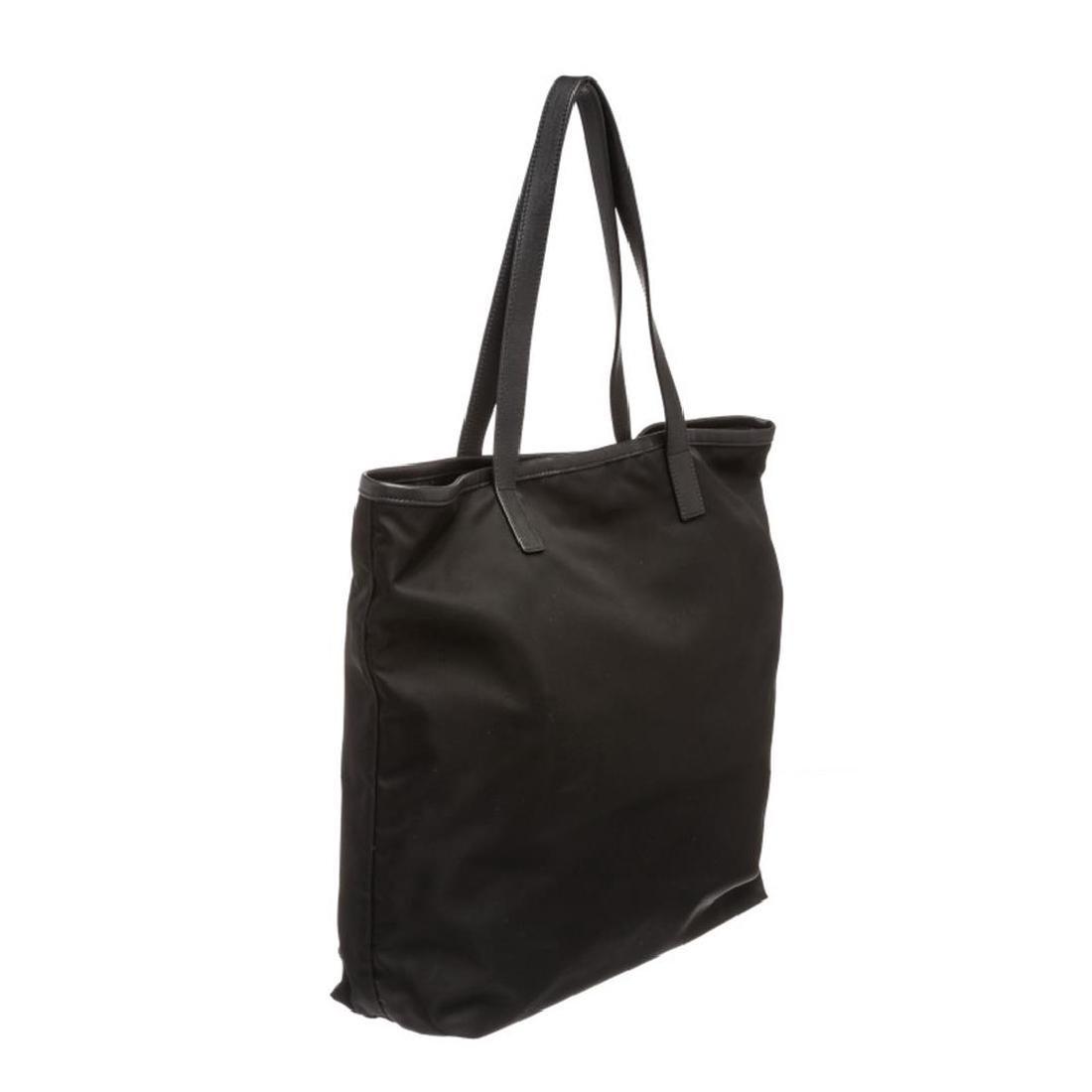 Prada Black Nylon Leather Long Tote Shoulder Bag - 3