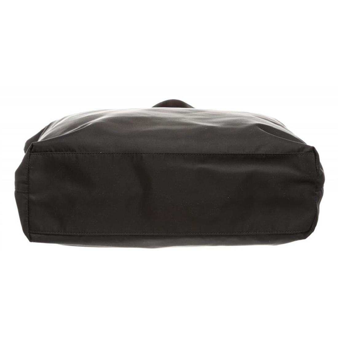 Prada Black Nylon Leather Long Tote Shoulder Bag - 4