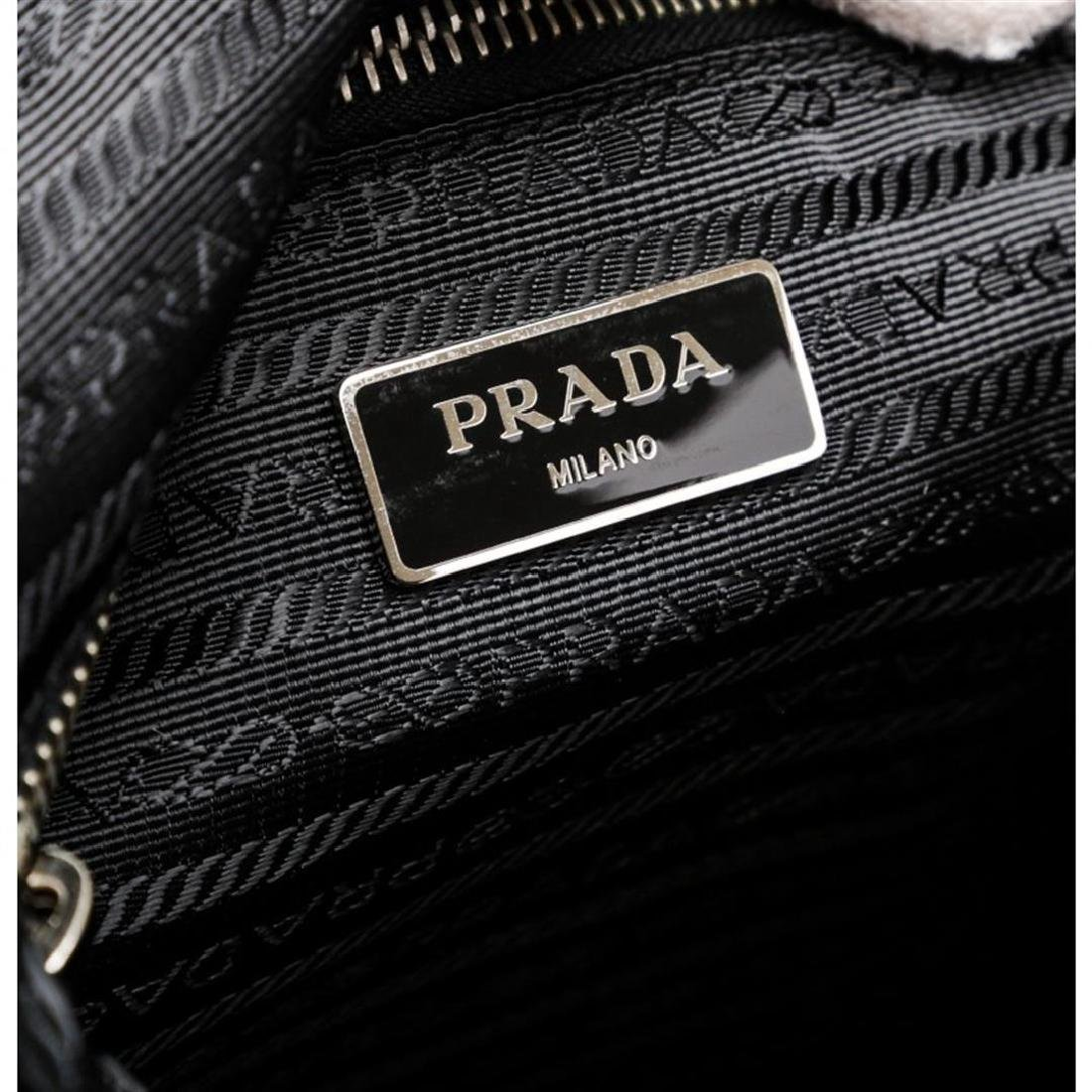 Prada Black Nylon Leather Long Tote Shoulder Bag - 6