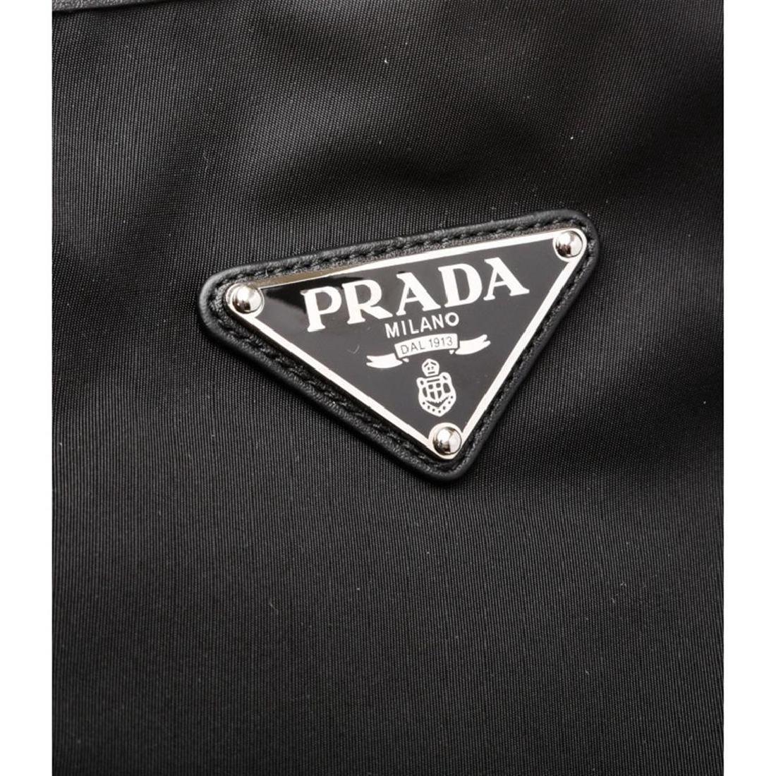 Prada Black Nylon Leather Long Tote Shoulder Bag - 7