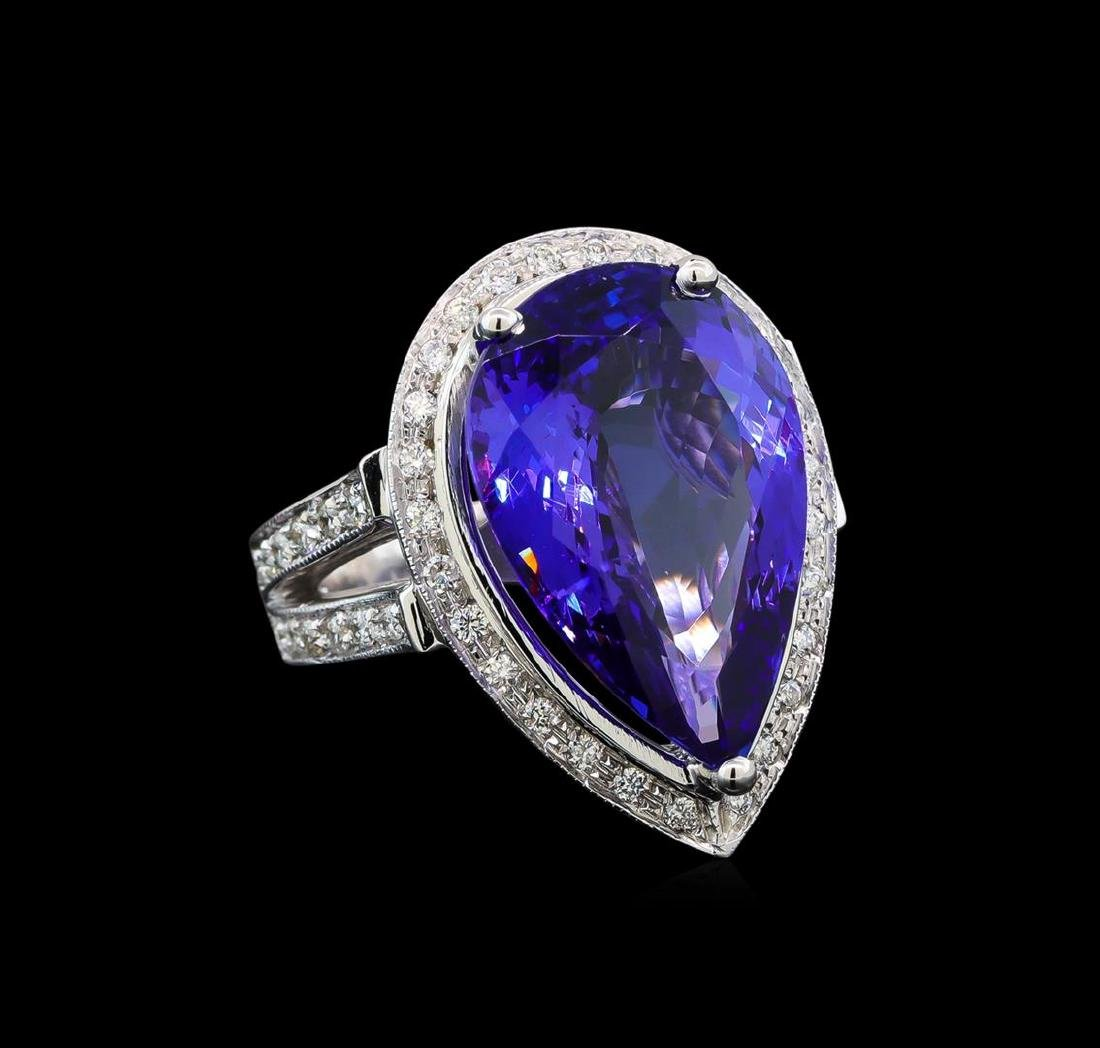 GIA Cert 13.42 ctw Tanzanite and Diamond Ring - 14KT