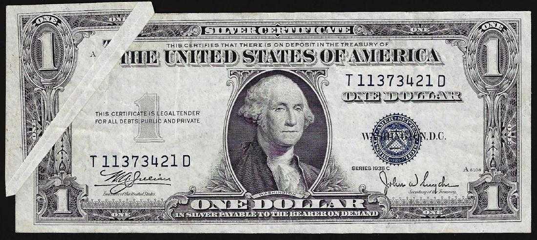 1935c 1 Silver Certificate Note Gutter Fold Error