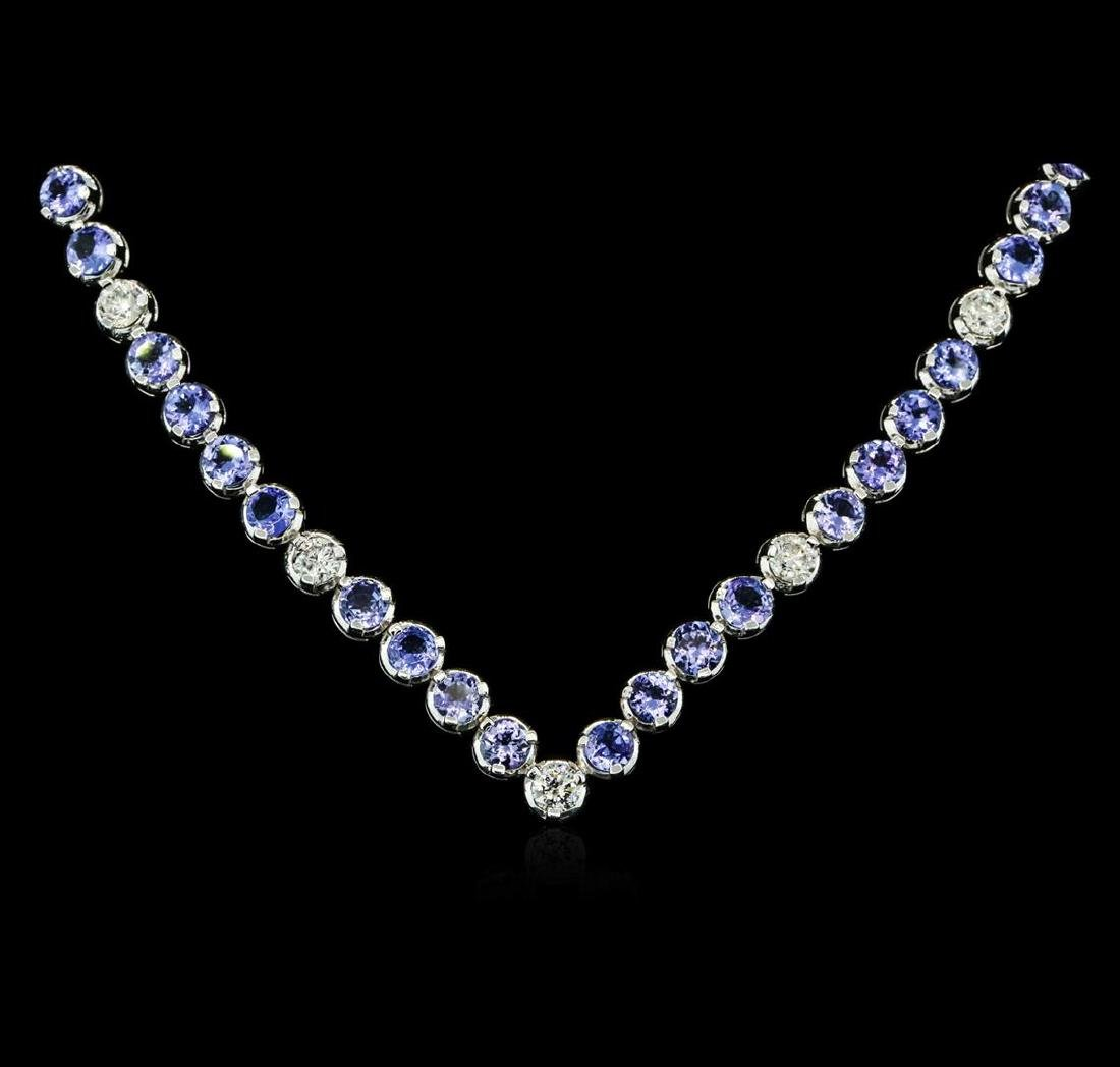 14KT White Gold 11.52 ctw Tanzanite and Diamond