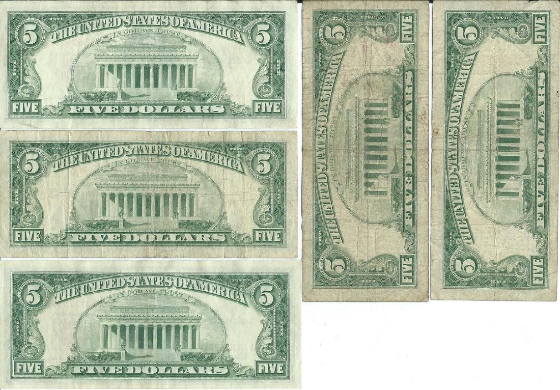 1963 $5 Red Seal Bill Lot of 5 - 2