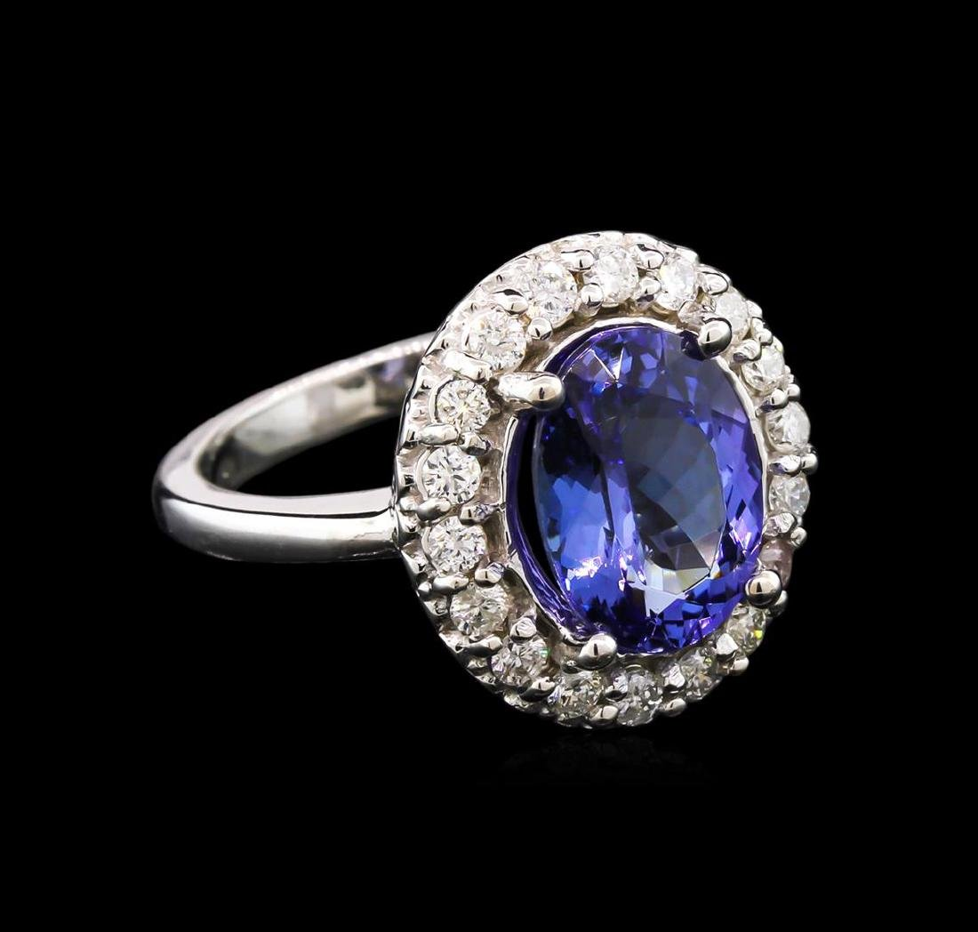 3.47 ctw Tanzanite and Diamond Ring - 14KT White Gold