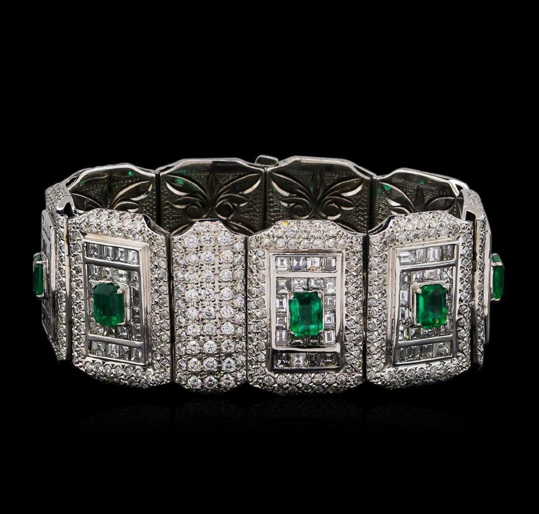 Platinum GIA Certified 9.37 ctw Emerald and Diamond