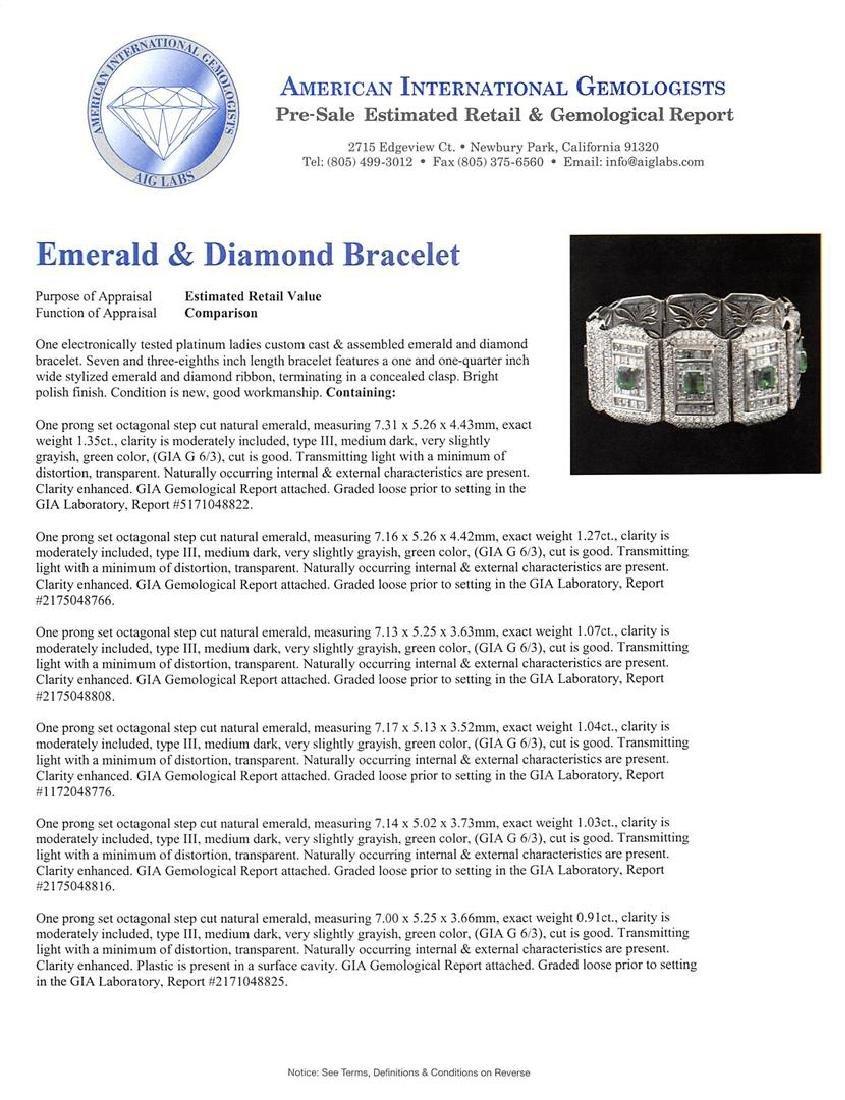 Platinum GIA Certified 9.37 ctw Emerald and Diamond - 4