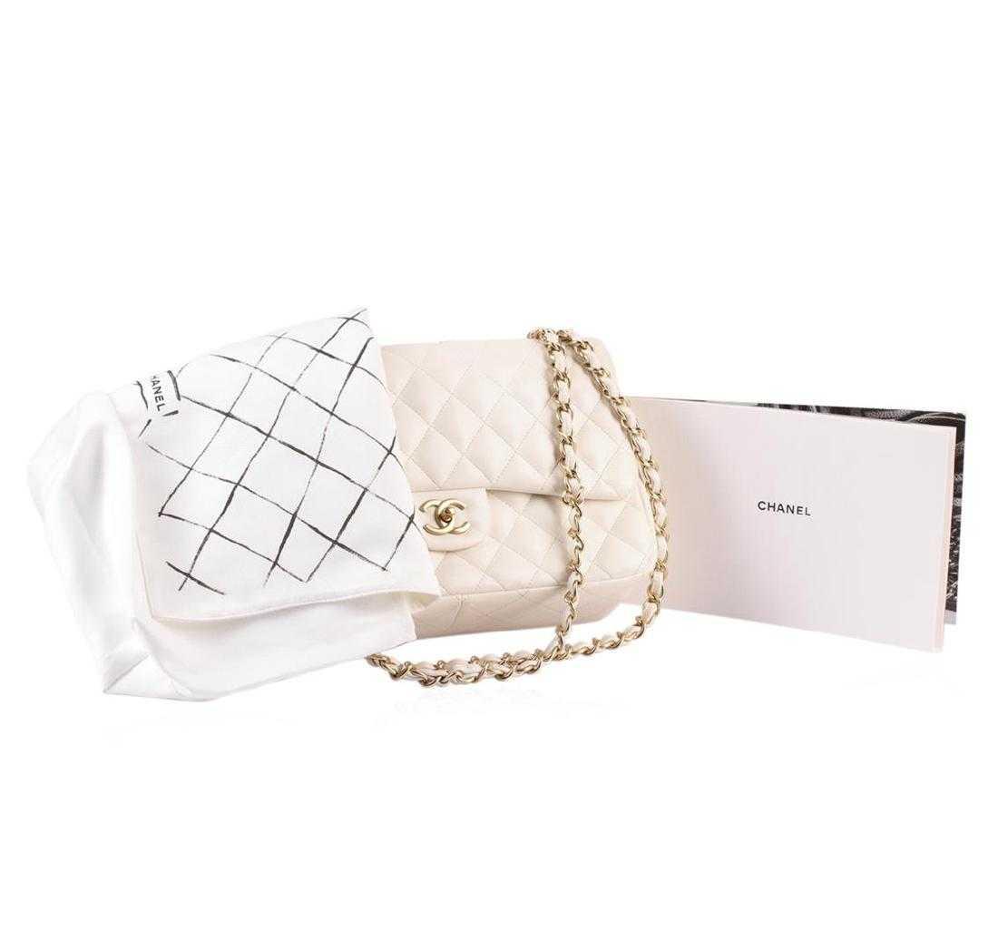 3effaa80338aba 100% Authentic Chanel Flap Bag Jumbo White Lambskin