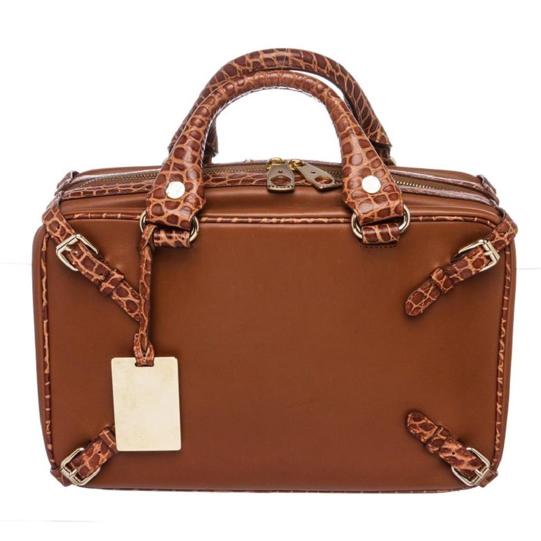Celine Chocolate Brown Crocodile Embossed Leather