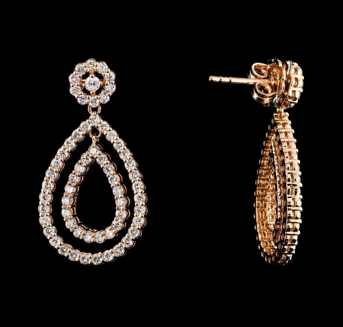 1.51 ctw Diamond Earrings - 14KT Rose Gold - 2
