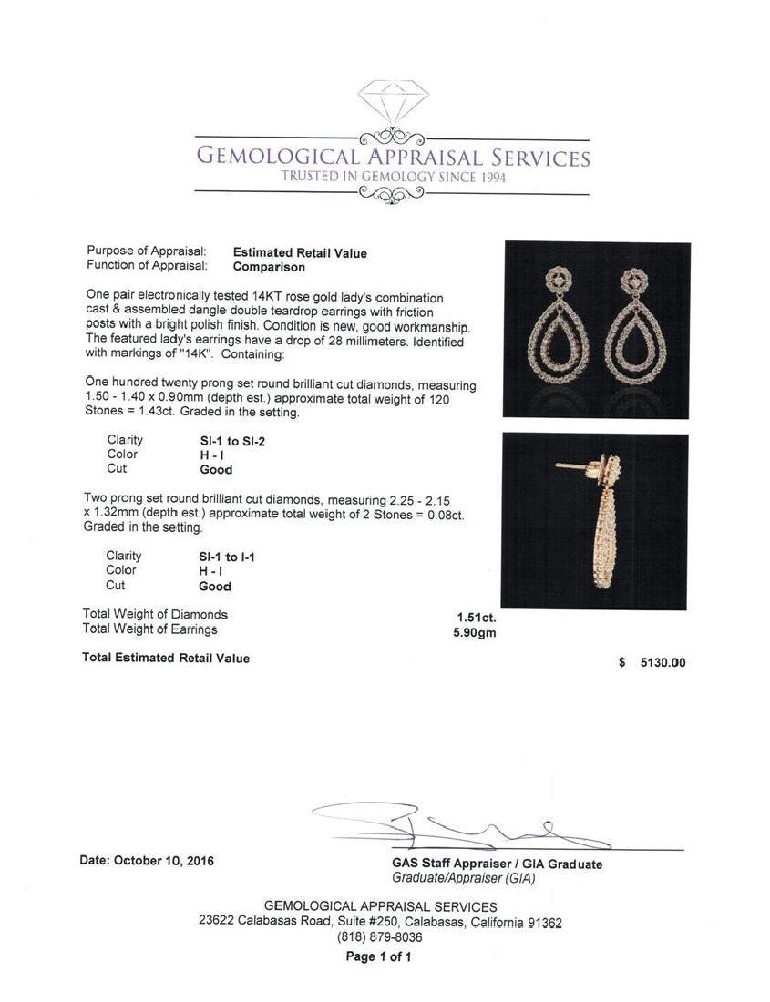 1.51 ctw Diamond Earrings - 14KT Rose Gold - 3