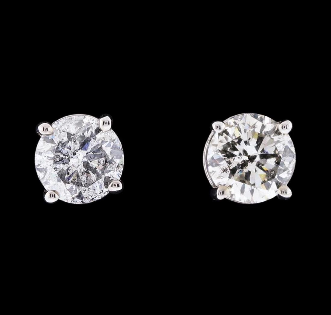 0.93 ctw Diamond Stud Earrings - 14KT White Gold