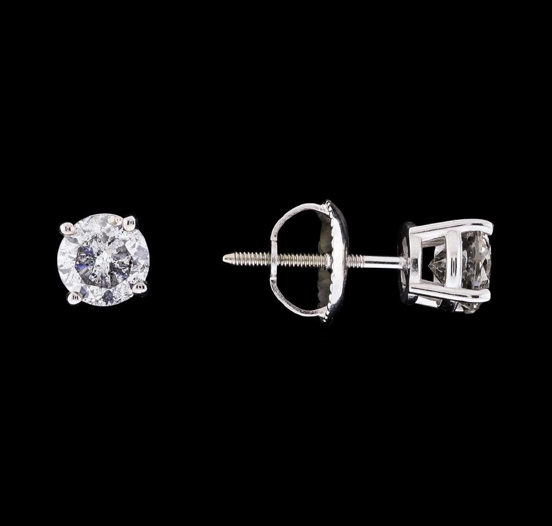 0.93 ctw Diamond Stud Earrings - 14KT White Gold - 2