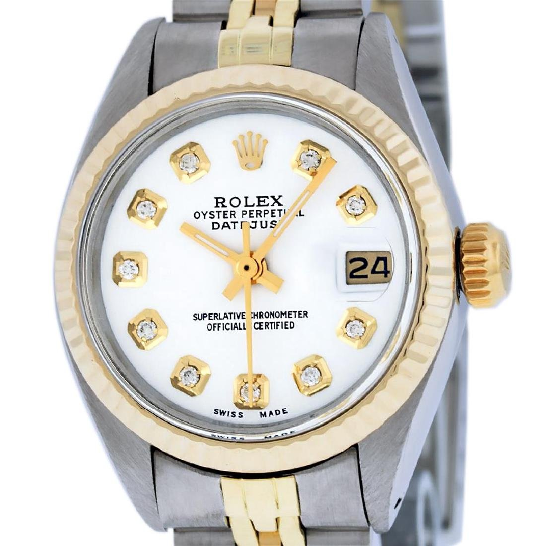 Rolex Ladies Two Tone Mother Of Pearl Diamond Datejust - 2