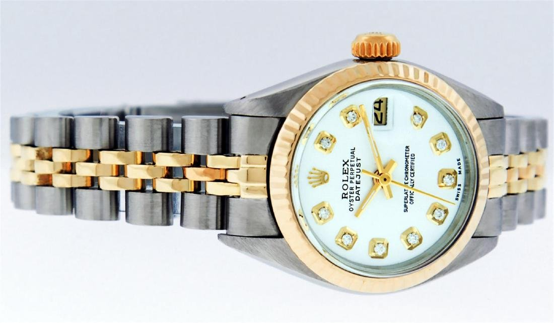 Rolex Ladies Two Tone Mother Of Pearl Diamond Datejust - 9