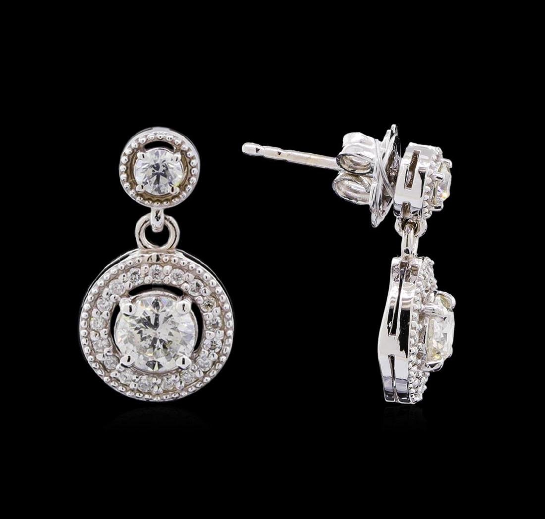 1.44 ctw Diamond Earrings - 14KT White Gold - 2