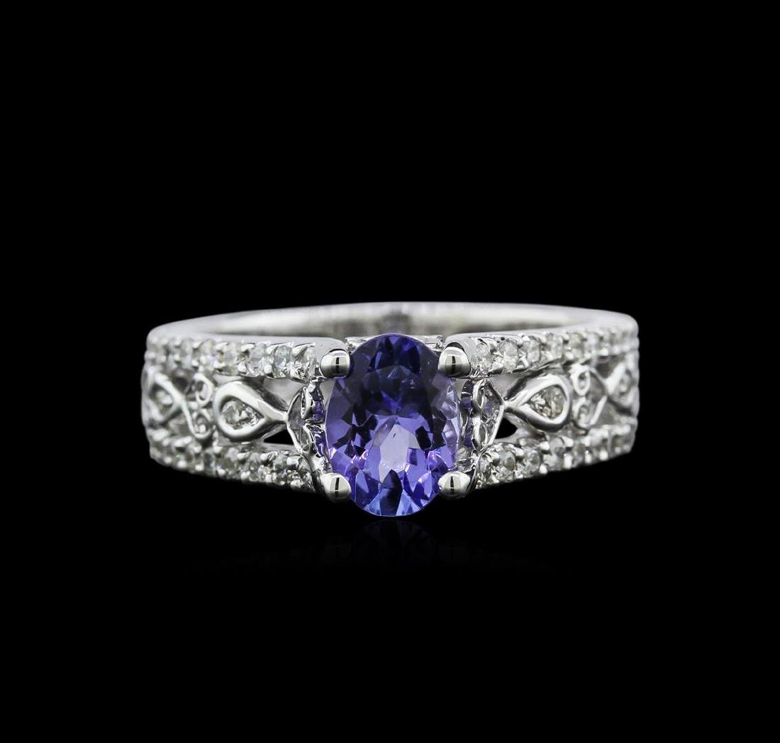 1.04 ctw Tanzanite and Diamond Ring - 18KT White Gold - 2
