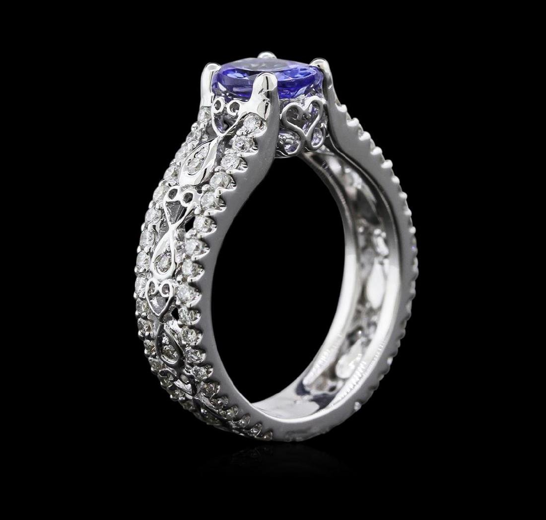 1.04 ctw Tanzanite and Diamond Ring - 18KT White Gold - 3