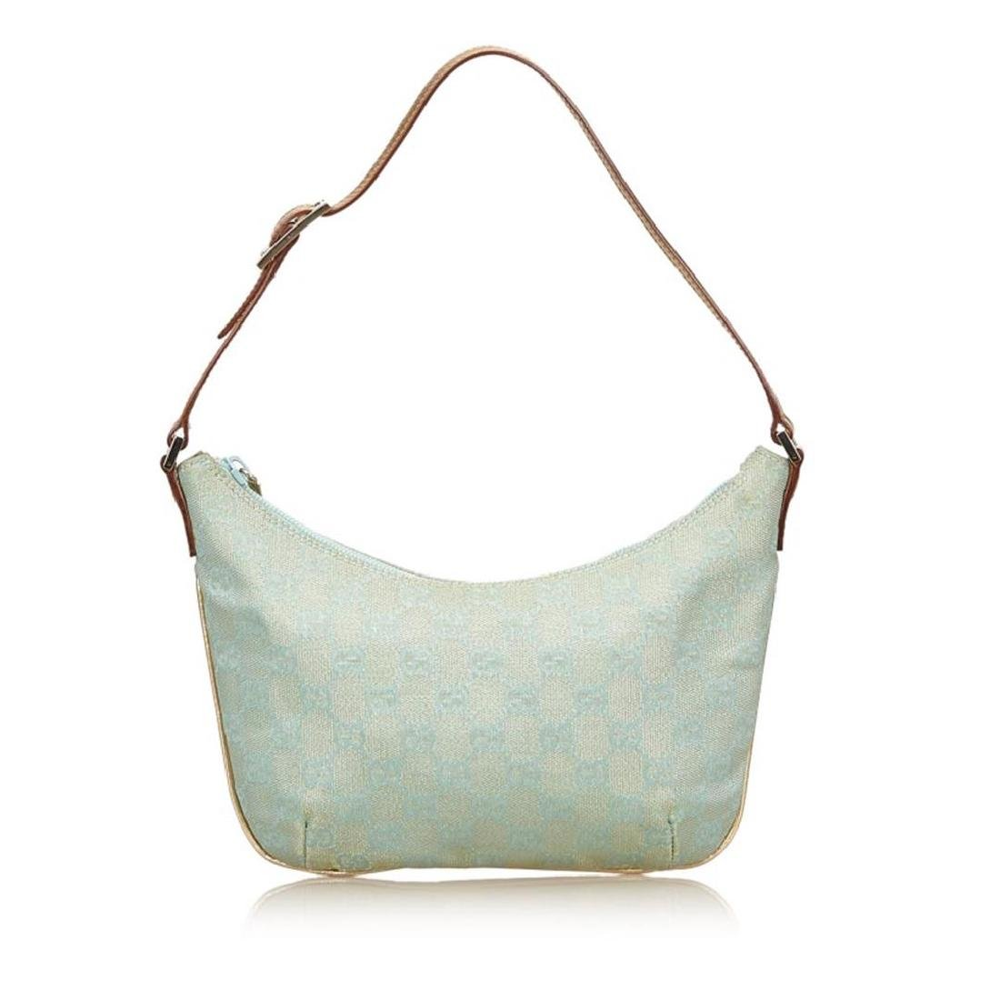 Gucci Blue Green Canvas Brown Leather Jacquard Shoulder