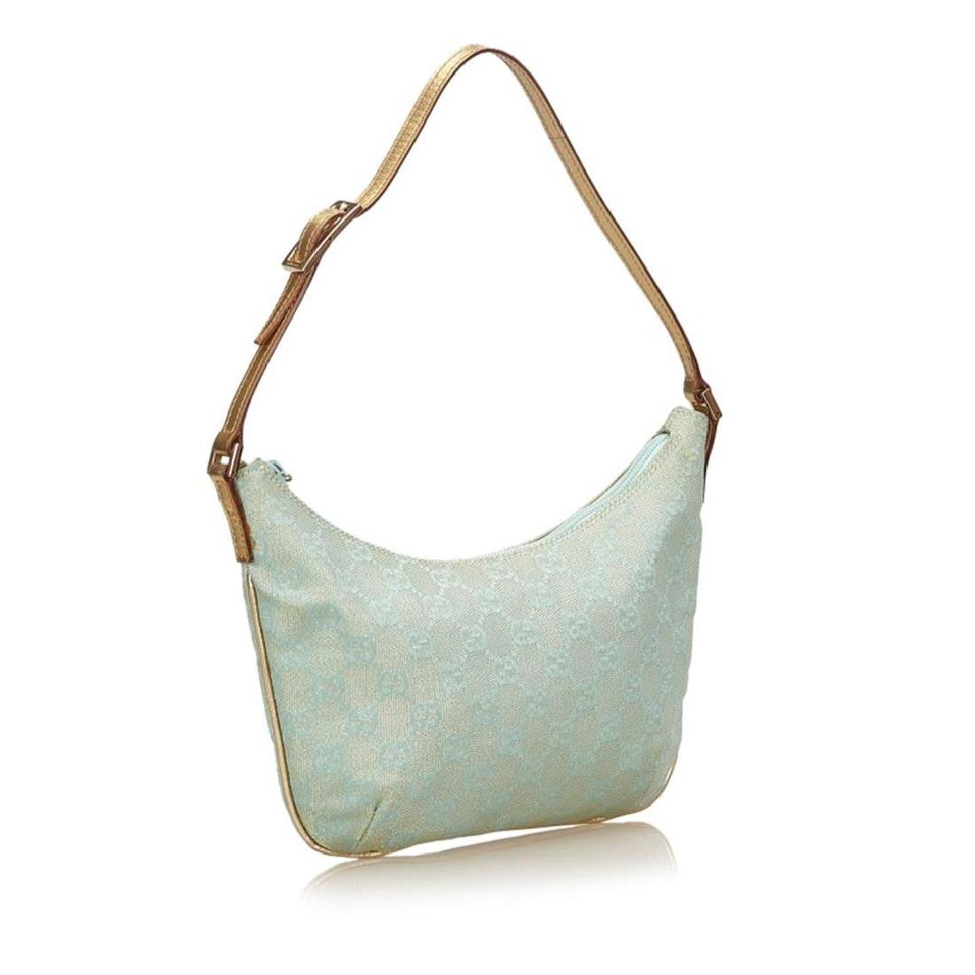 Gucci Blue Green Canvas Brown Leather Jacquard Shoulder - 2