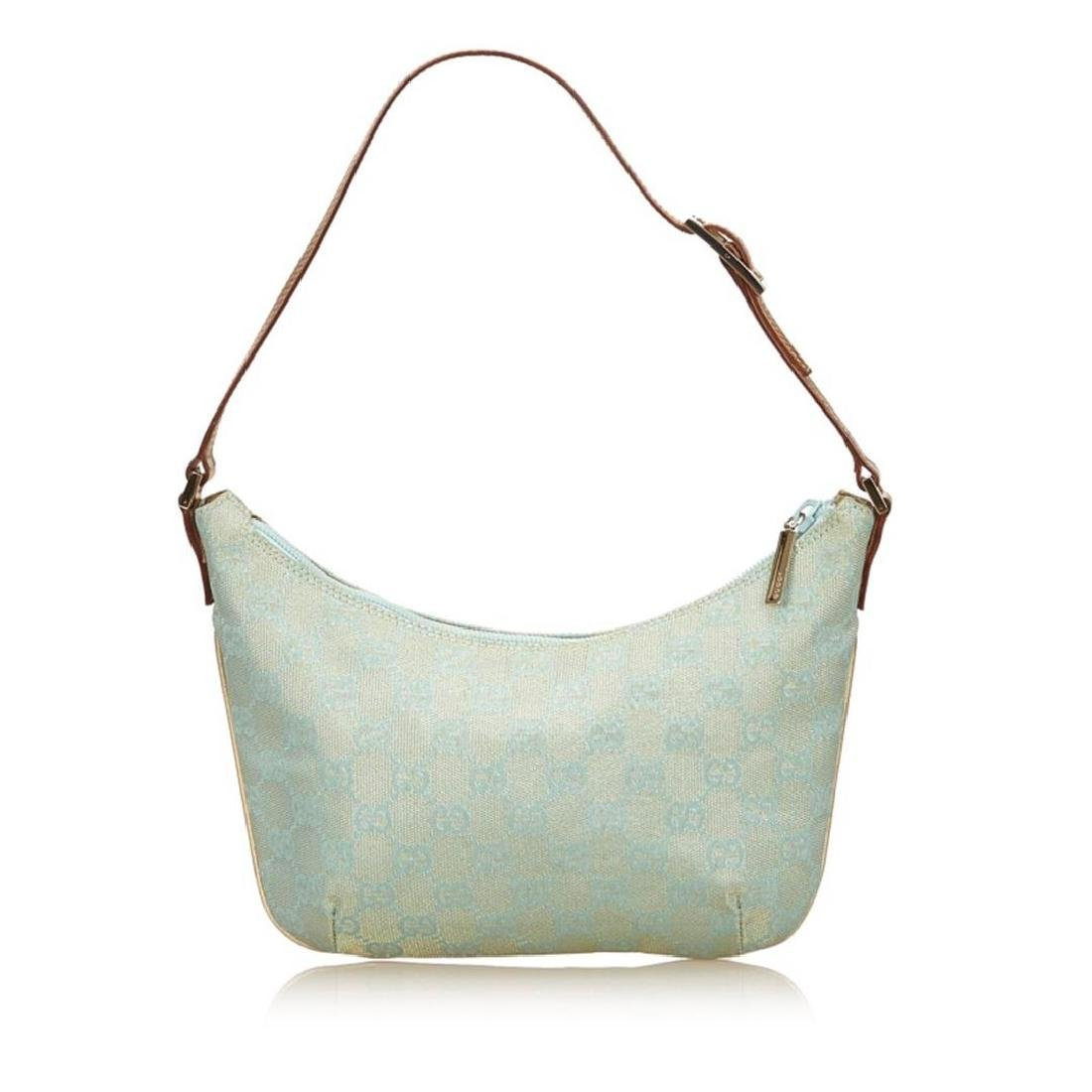 Gucci Blue Green Canvas Brown Leather Jacquard Shoulder - 3