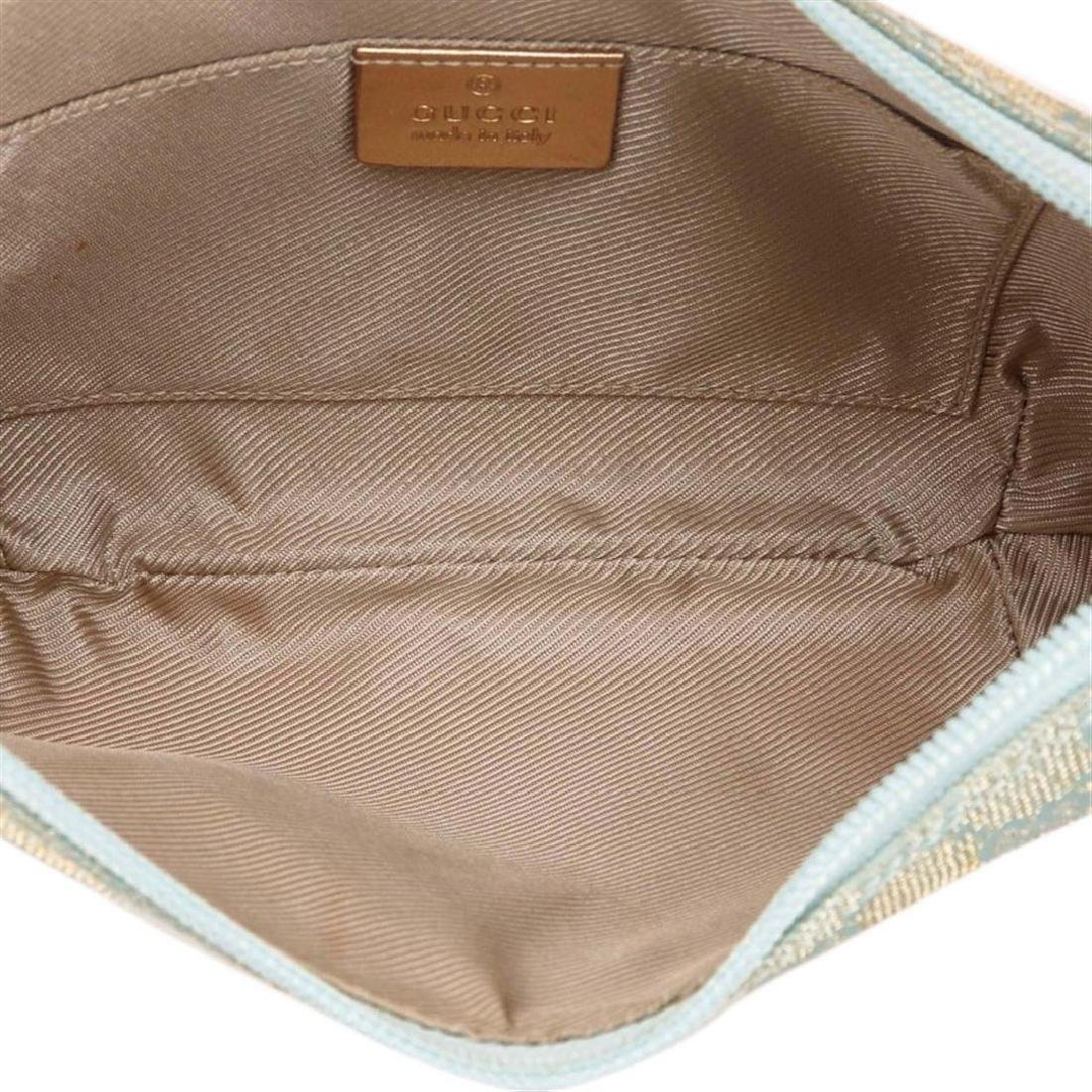 Gucci Blue Green Canvas Brown Leather Jacquard Shoulder - 6