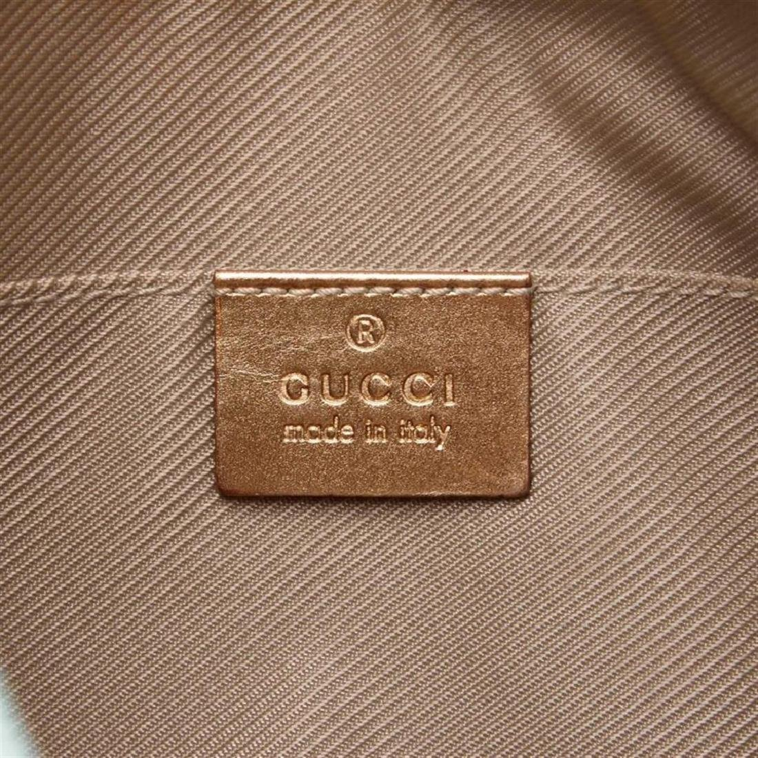 Gucci Blue Green Canvas Brown Leather Jacquard Shoulder - 7