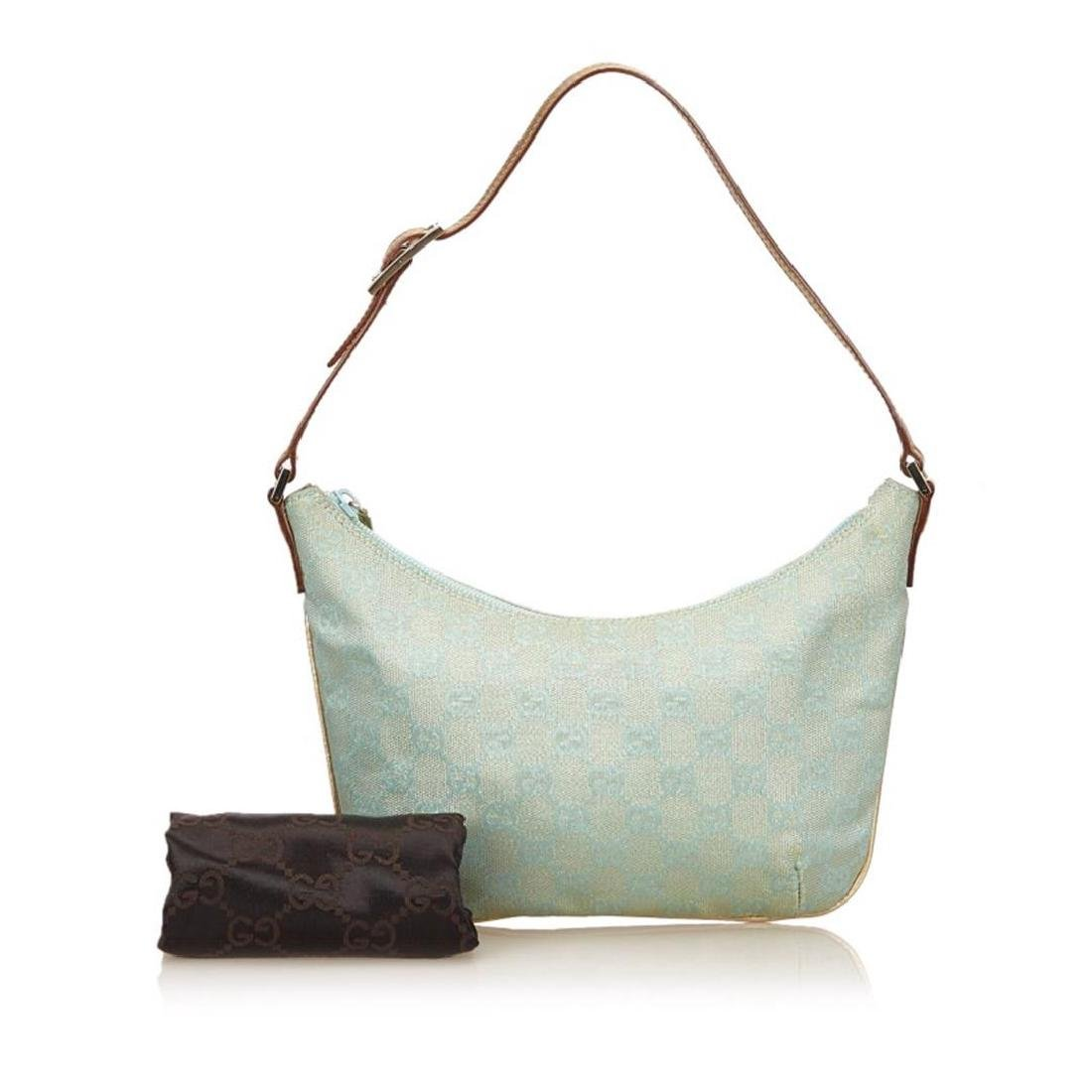 Gucci Blue Green Canvas Brown Leather Jacquard Shoulder - 9