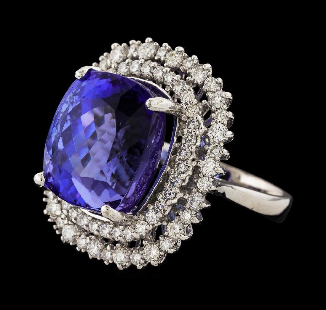 18.03 ctw Tanzanite and Diamond Ring - 14KT White Gold