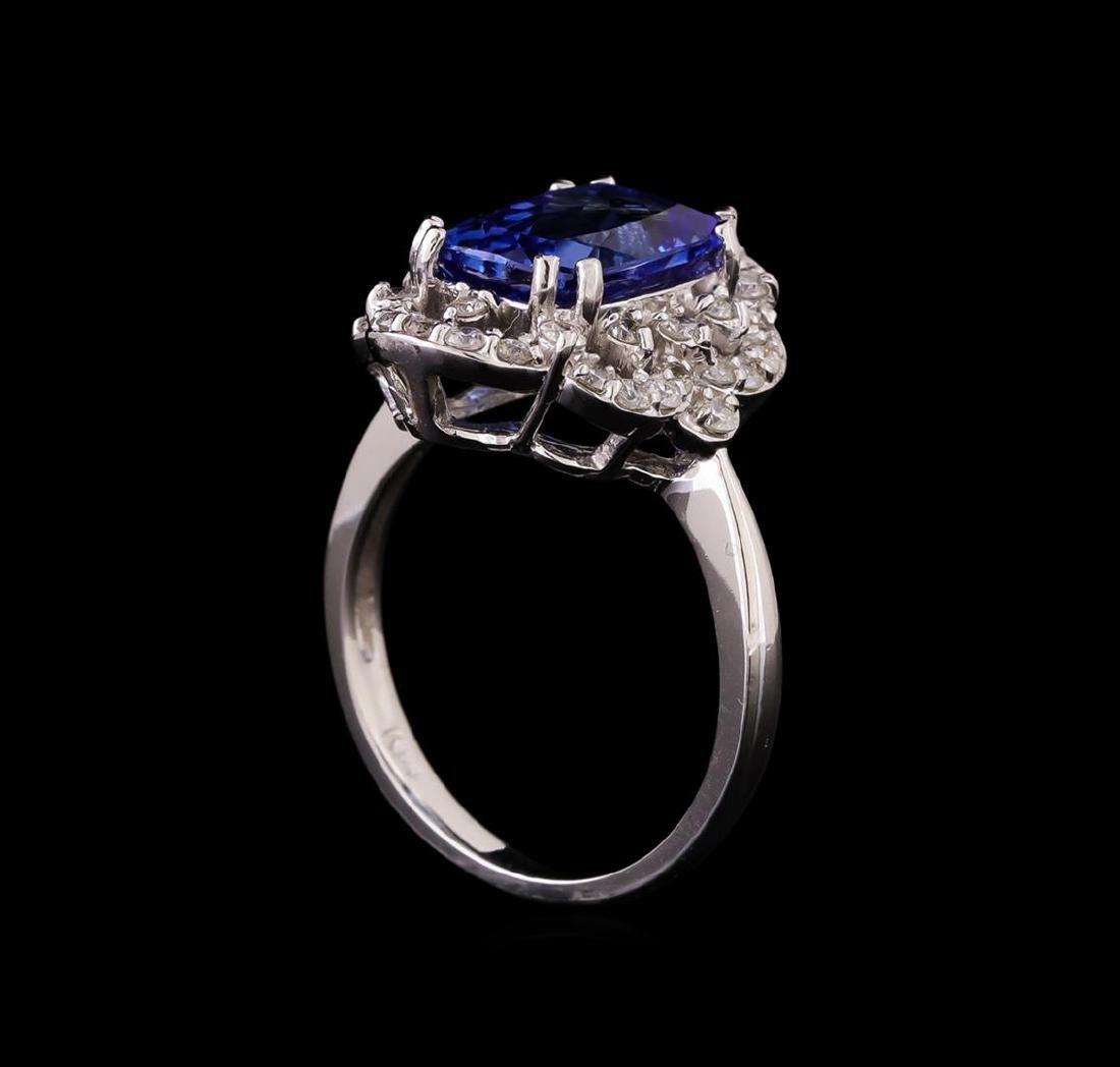 14KT White Gold 3.20 ctw Tanzanite and Diamond Ring - 4
