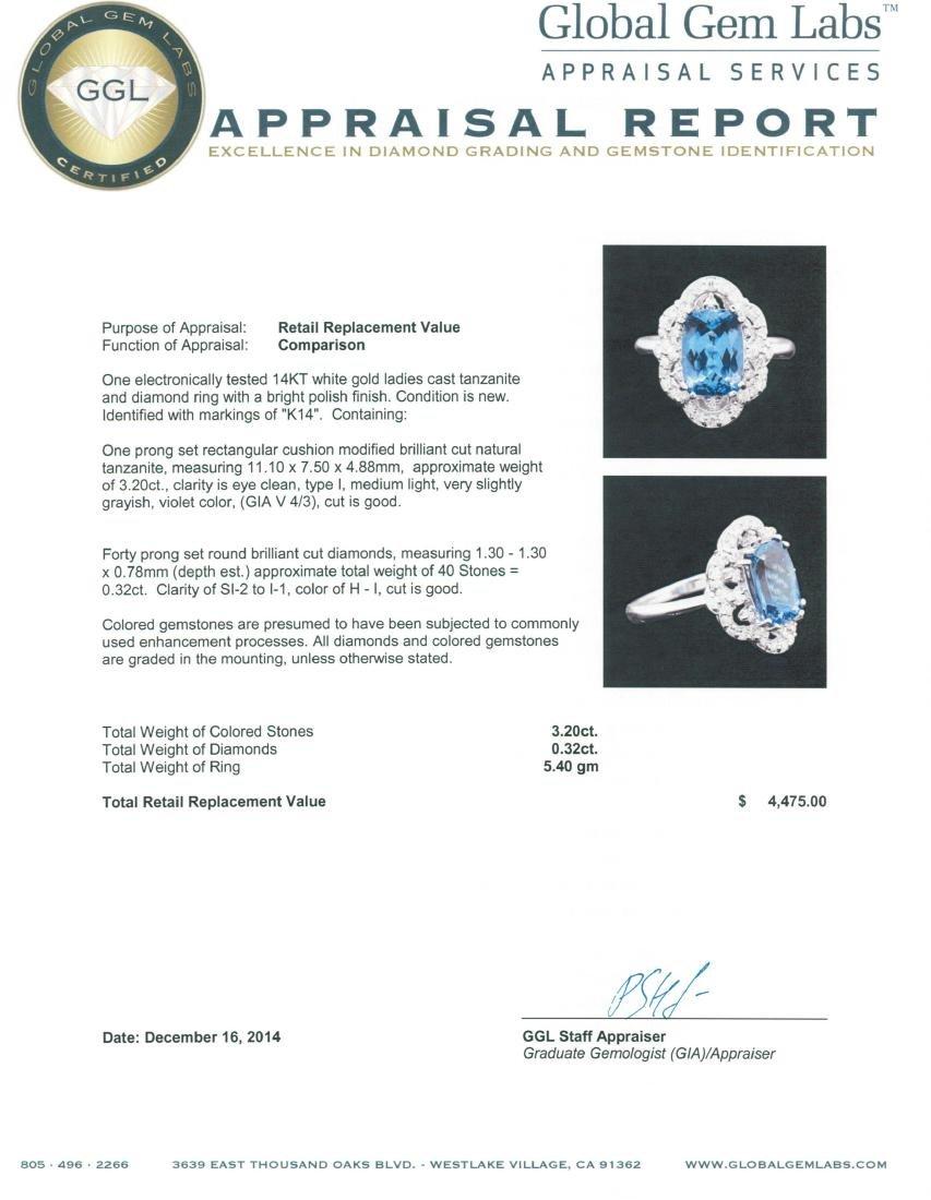 14KT White Gold 3.20 ctw Tanzanite and Diamond Ring - 5