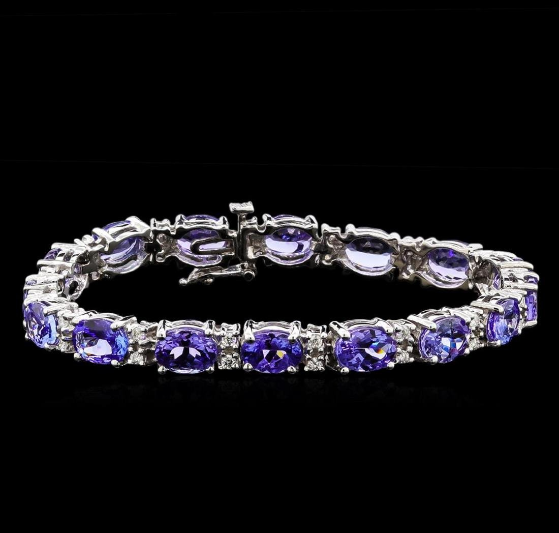 19.90 ctw Tanzanite and Diamond Bracelet - 14KT White