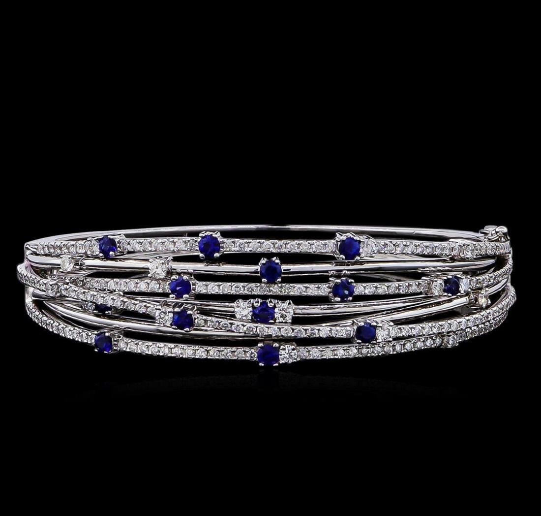 1.35 ctw Sapphire and Diamond Bracelet - 14KT White
