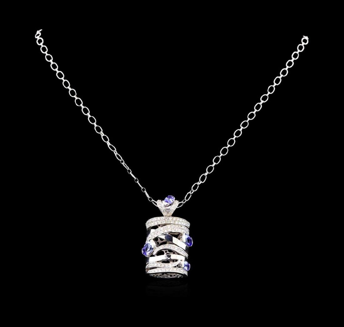 14KT White Gold 3.60 ctw Tanzanite and Diamond Pendant