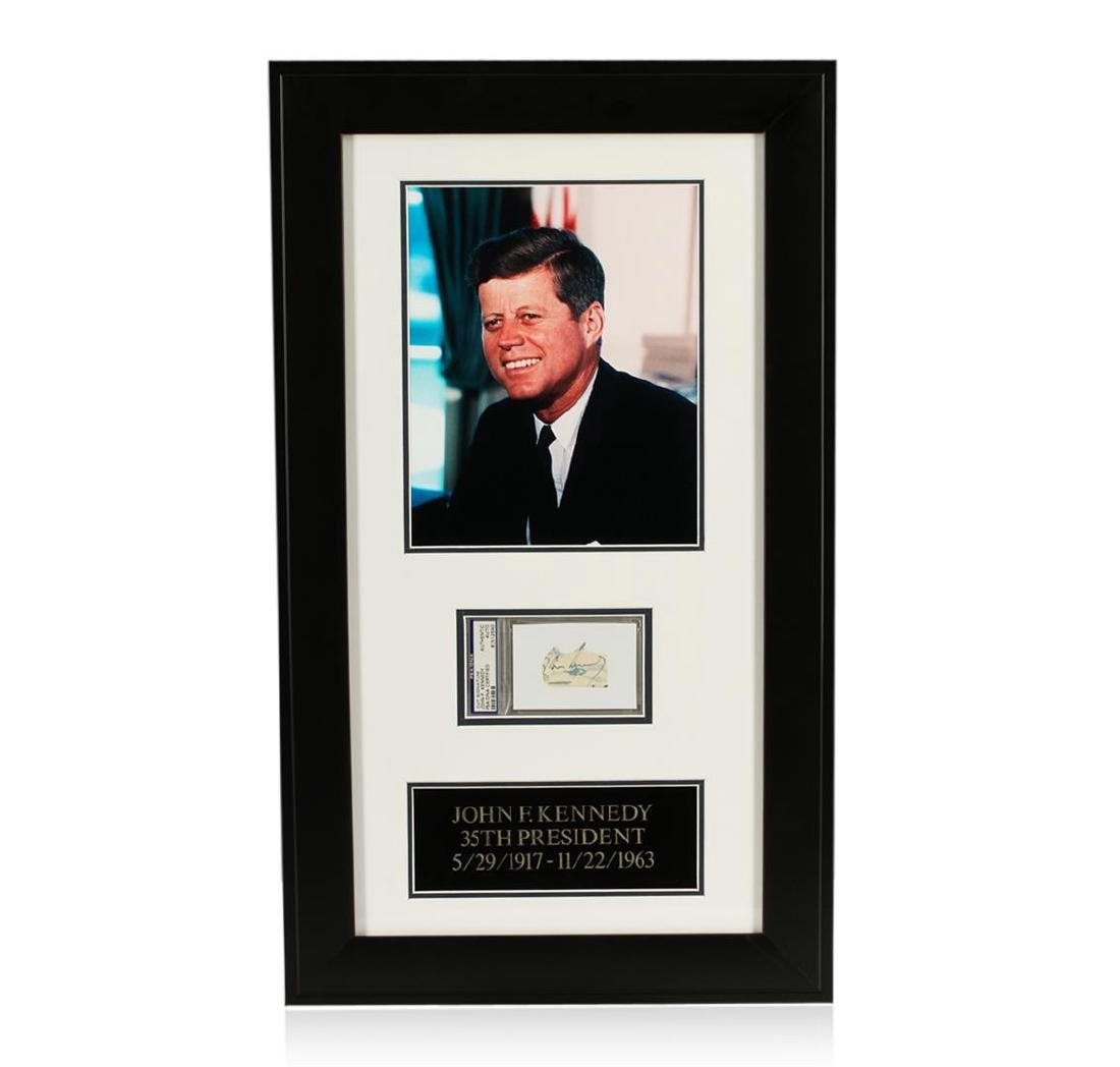 John F. Kennedy Signed Cut Display PSA Certified