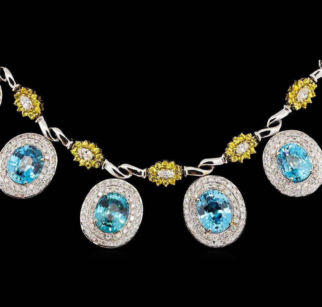 42.82 ctw Blue Zircon and Diamond Necklace - 14-18KT