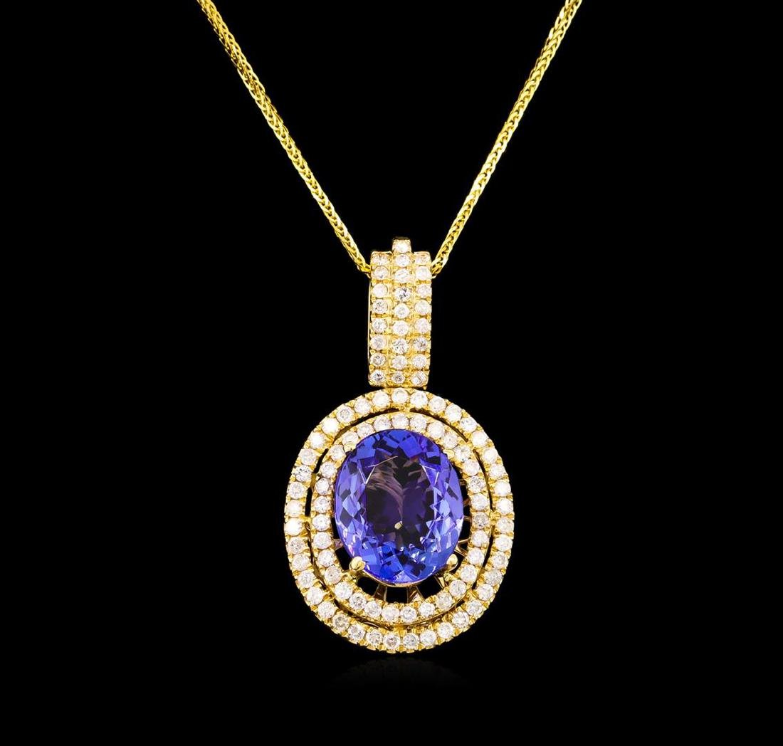 14KT Yellow Gold 4.20 ctw Tanzanite and Diamond Pendant