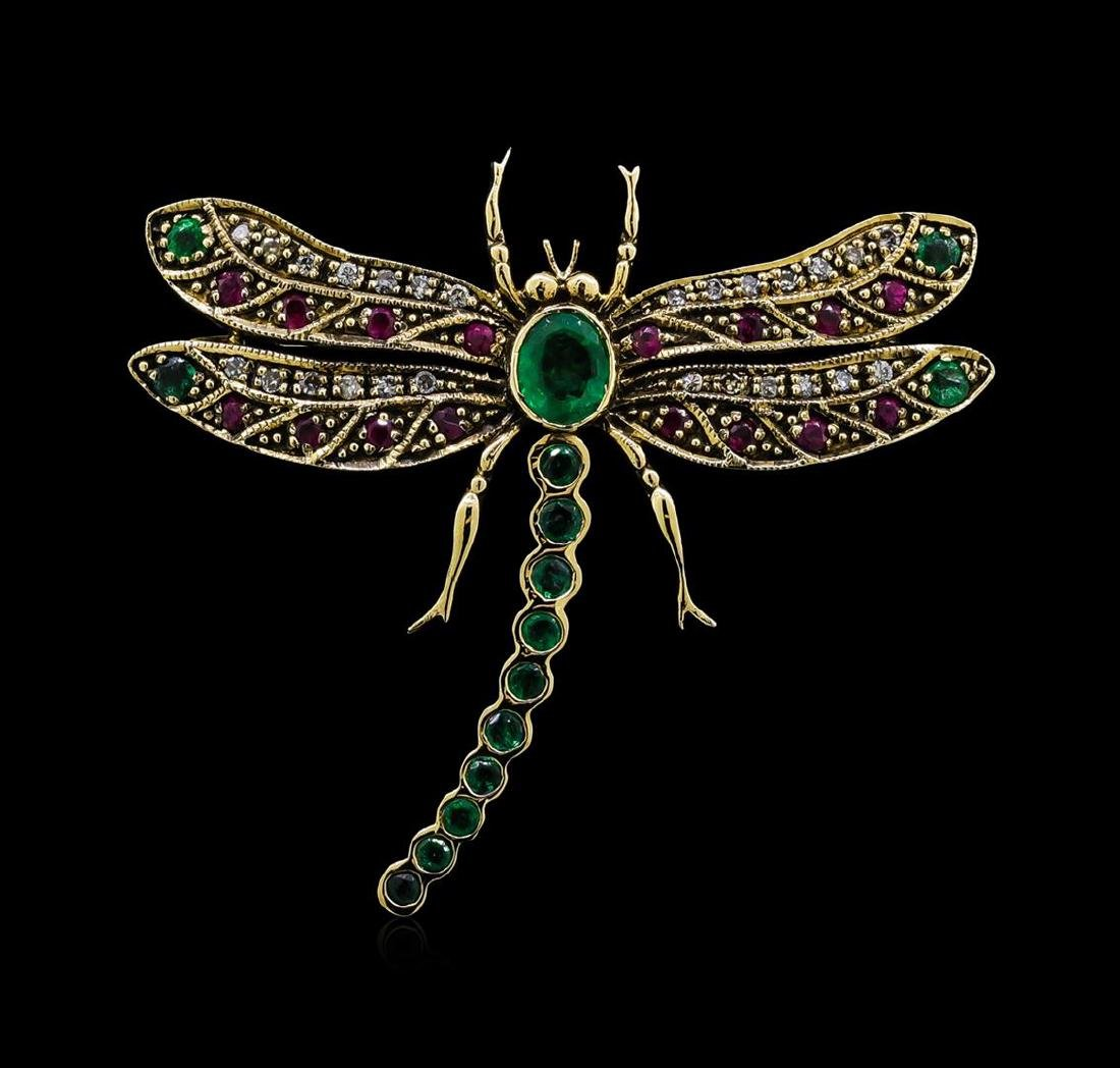 0.72 ctw Emerald, Ruby and Diamond Butterfly Brooch -