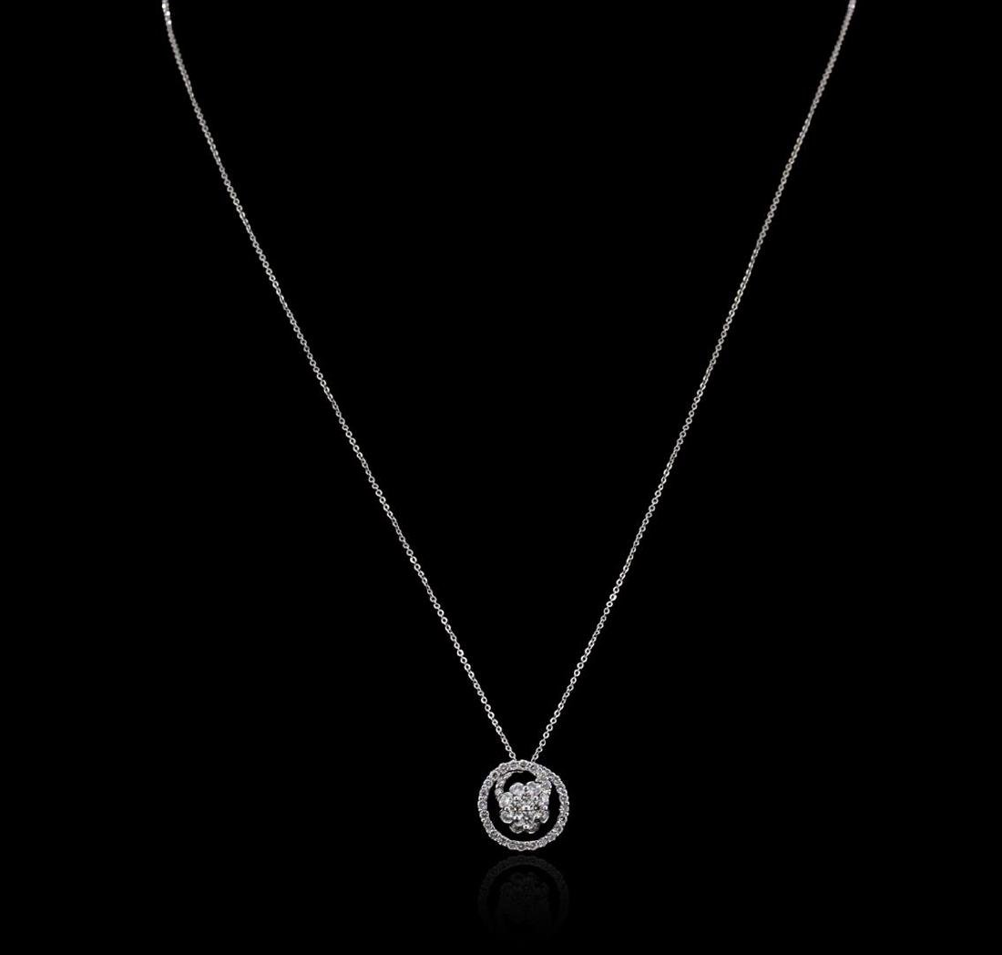 0.80 ctw Diamond Pendant Without Chain - 18KT White