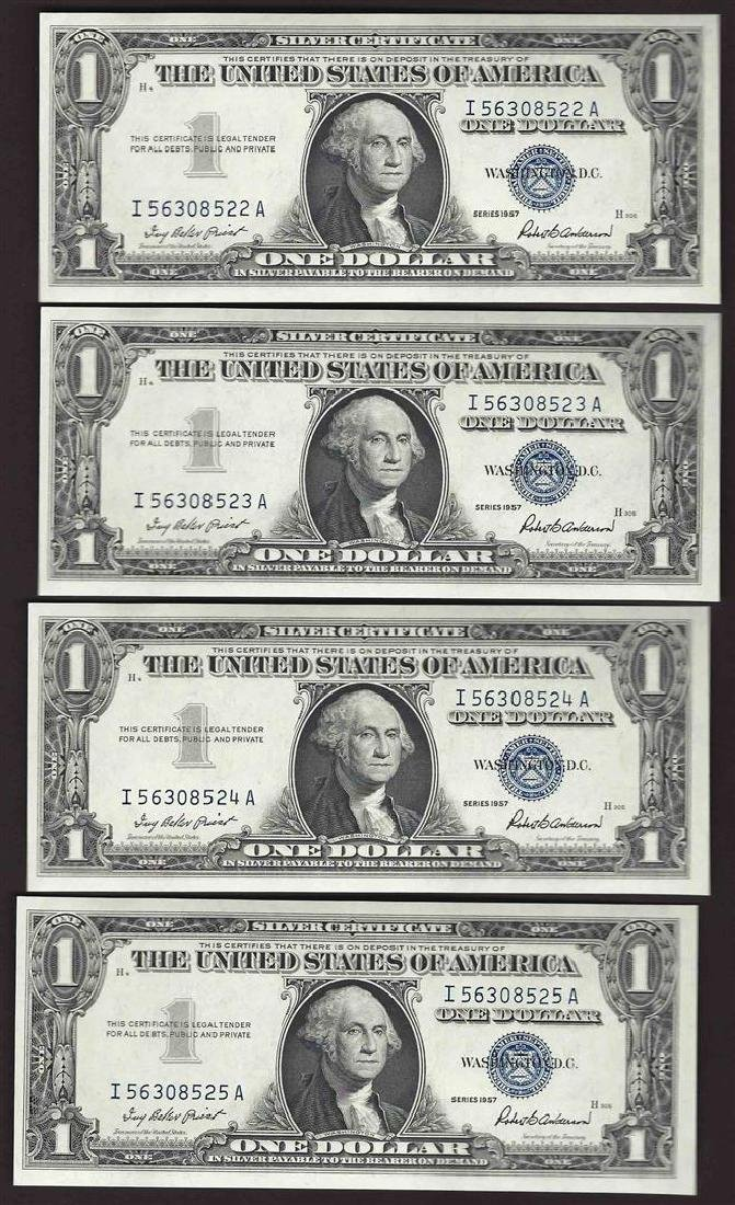 Lot of (4) Consecutive 1957 $1 Silver Certificate Notes